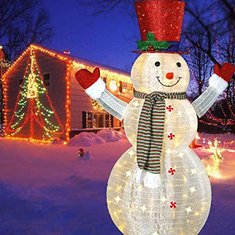 60 led popup snowman outdoor collapsible lighted snowman christmas yard decorations with 120 lights - Lighted Christmas Yard Decorations