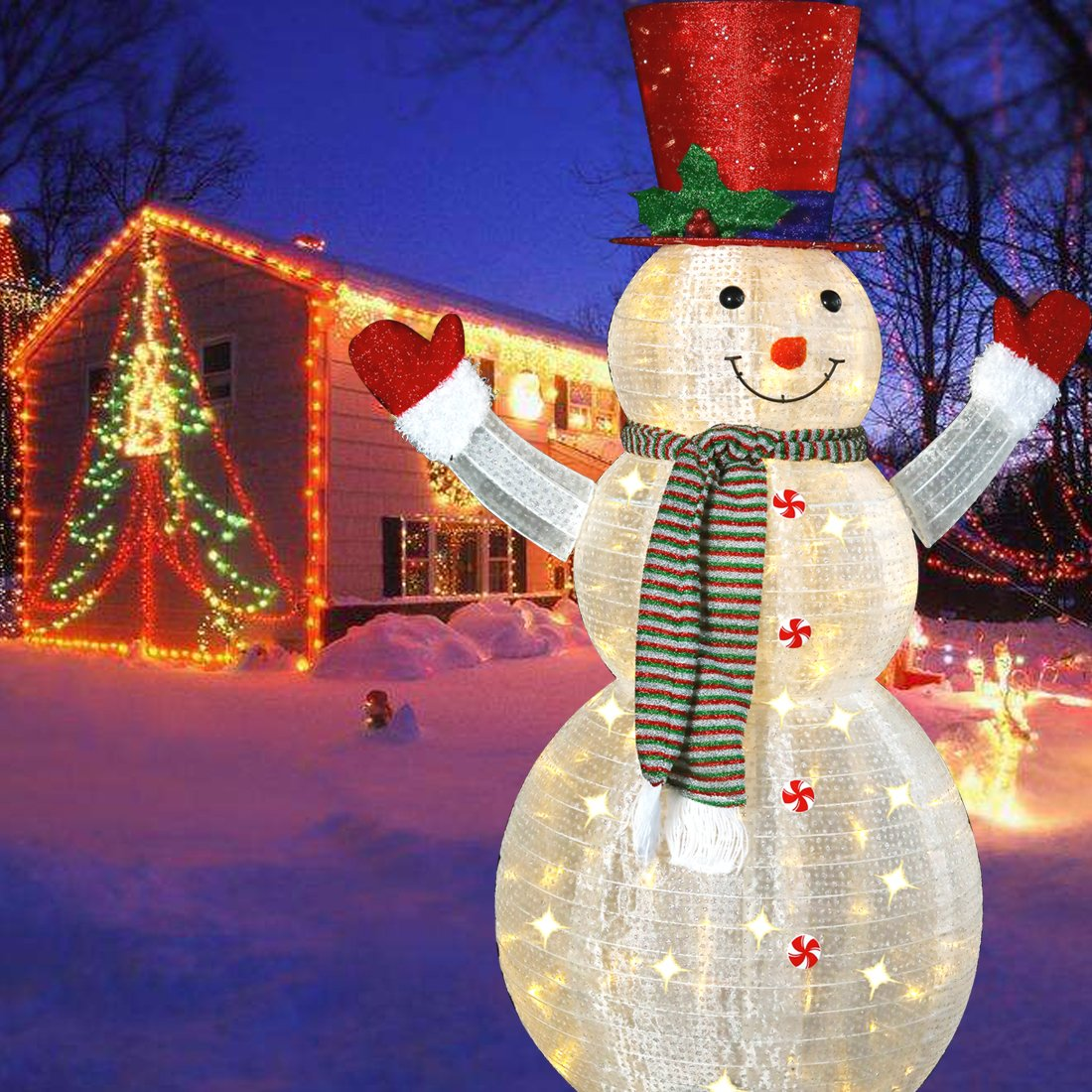 60'' LED Popup Snowman Outdoor Collapsible Lighted Snowman Christmas Yard Decorations with 120 Lights
