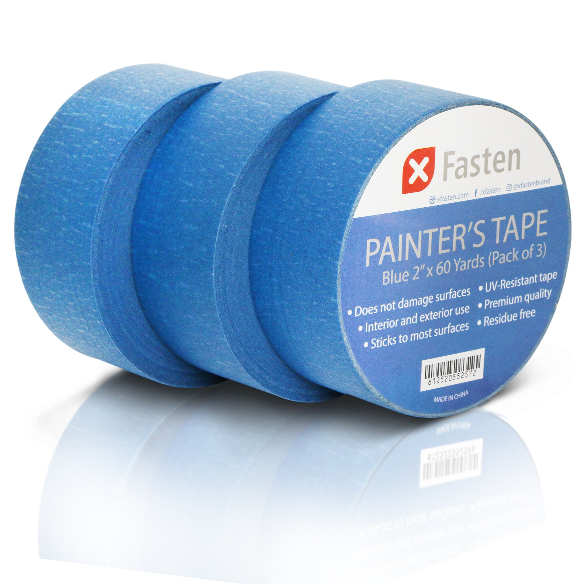 XFasten Professional Blue Painters Tape, 2'' by 60 Yards (Pack of 3)