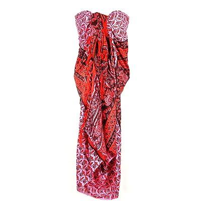 Paréo Plage Femme Serviette de Plage Sarong Drap Pareo Ethnique Bain Mer Beach Cover Up Wrap Skirt Coton rose Elephant 100 x 140 cm