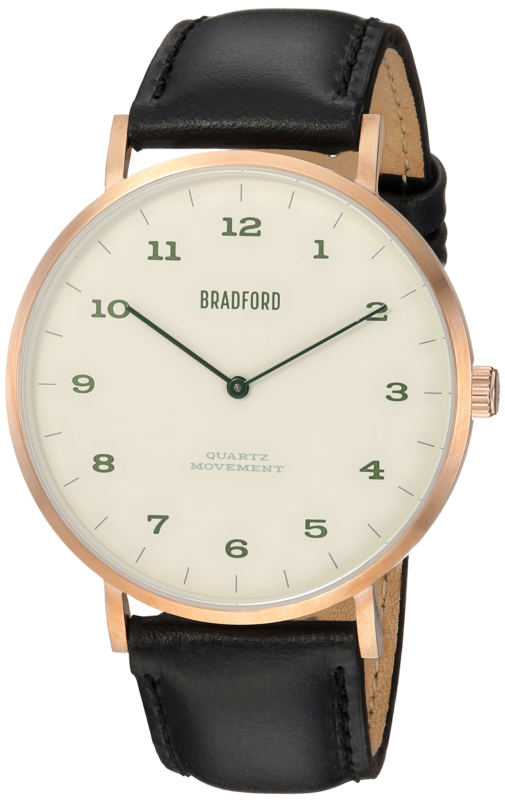 Bradford Watch Co Quartz Stainless Steel and Leather Casual Watch, Color:Black (Model: B82245-03011) by Bradford Watch Co