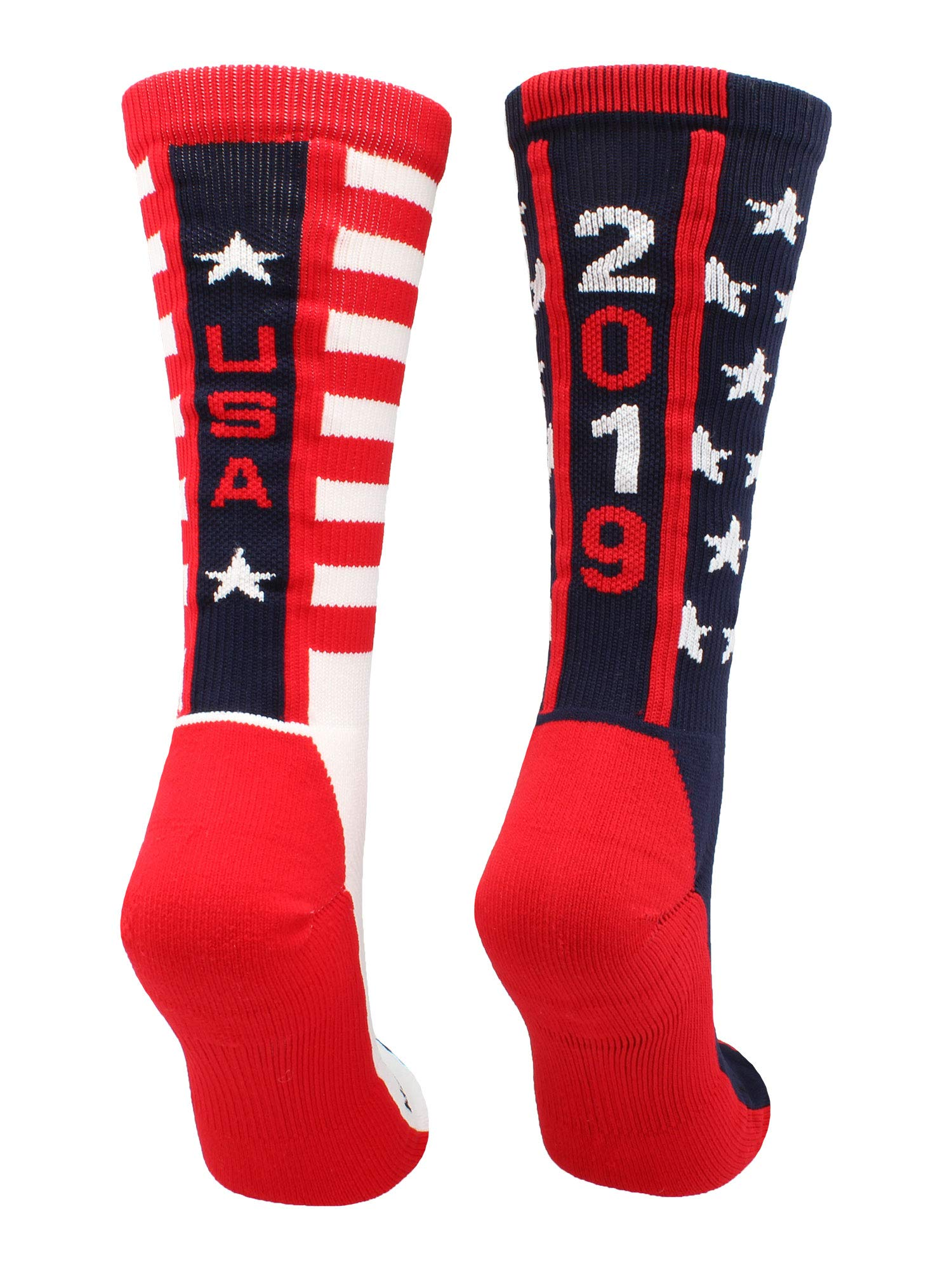 MadSportsStuff USA Pride Athletic Crew Socks (2019-Navy/Red/White, Large)