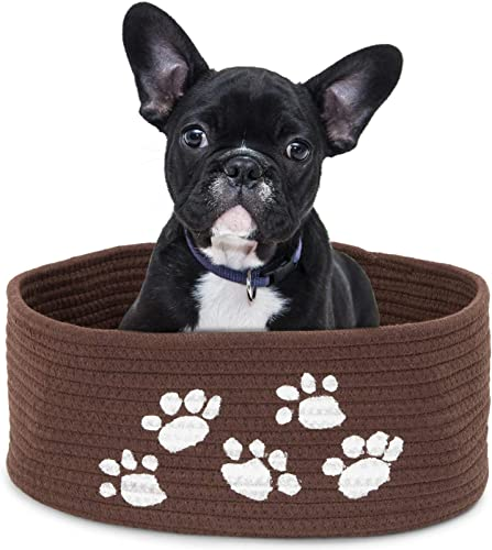 Juvale Dog Bed for Small Dog, Oval Pet Bed and Dog Toy Basket Cotton Rope, Brown