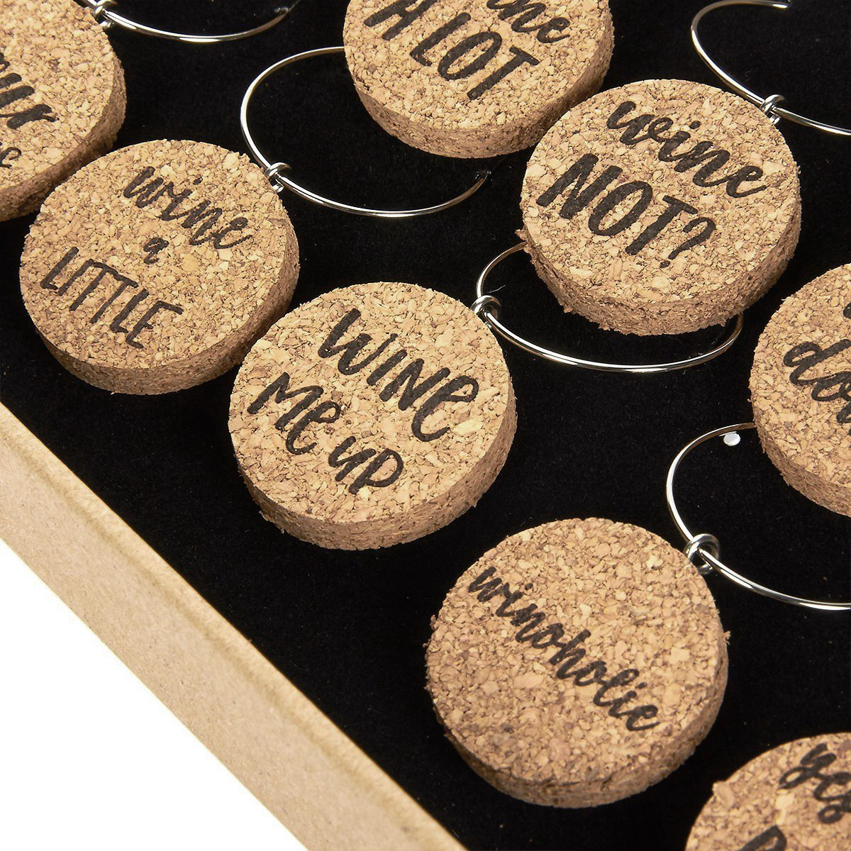 Wine Glass Charms - 12-Piece Wine Charm Drink Markers - Natural Cork Wine Lover Themed Wine Glass Tags Decorations for Parties, Gatherings, Reunions - 1 x 0.19 inches by Juvale (Image #5)