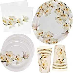 Floral White Magnolia Blossom Party Supplies Set 24 9