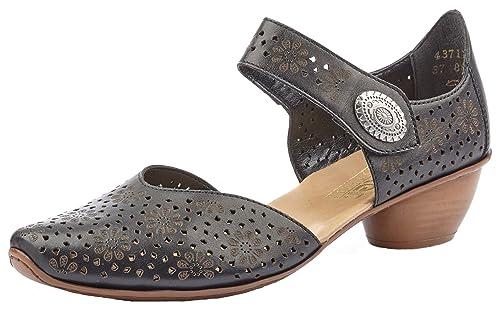 Rieker B0857/00 - Zapatos de Cordones de cuero hombre, Negro - Schwarz (nero/schwarz/00), 45