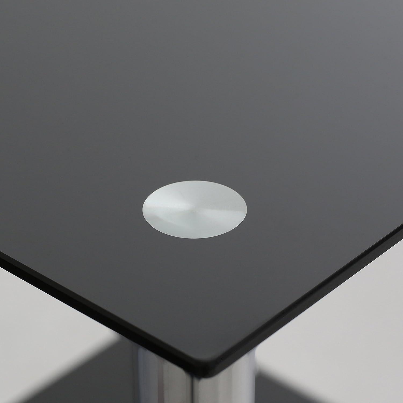 Premier Housewares Tavolino con 2 scaffali in vetro e struttura cromata 47 x 39 x 39 cm