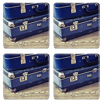 MSD 20365286 Posavasos cuadrados antideslizantes de goma natural diseño de dos maletas azules antiguas en el