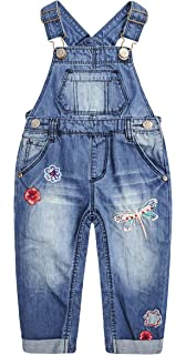 Kidscool Space Baby/&Little Girls Snap Legs Easy Diaper Changing Stars Embroidered Denim Overalls