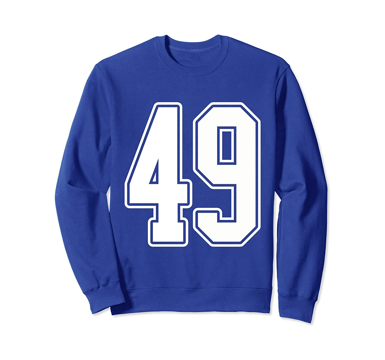 #49 White Outline Number 49 Sports Fan Jersey Sweatshirt-Rose
