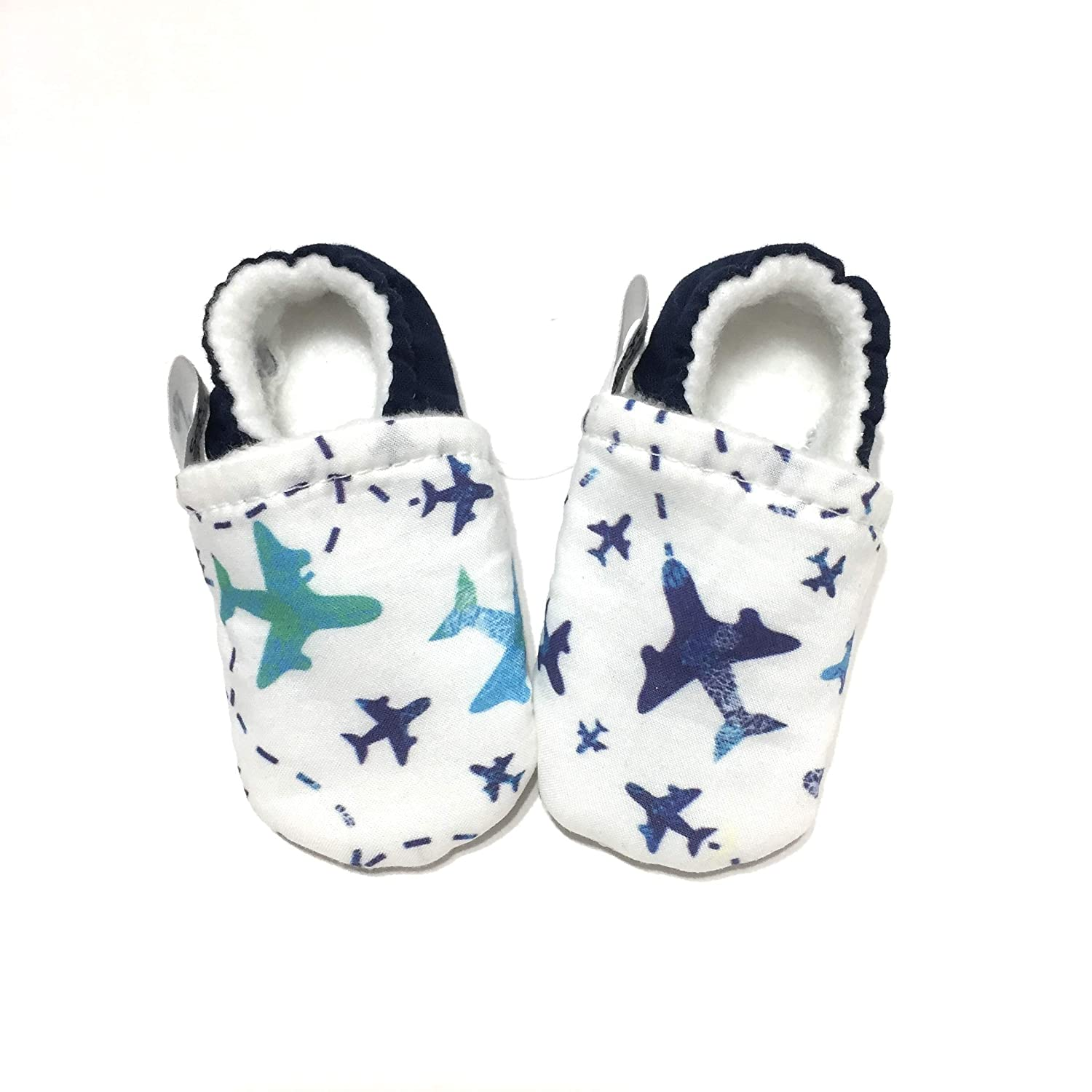 AIRPLANE BABY SHOES, Pilot Gift, Aeroplane Newborn Booties, Toddler Pilot in Training, Boy Baby Slippers, Blue Aircraft Moccasins, Aeronautical Baby Shower Present, Infant Aviator,