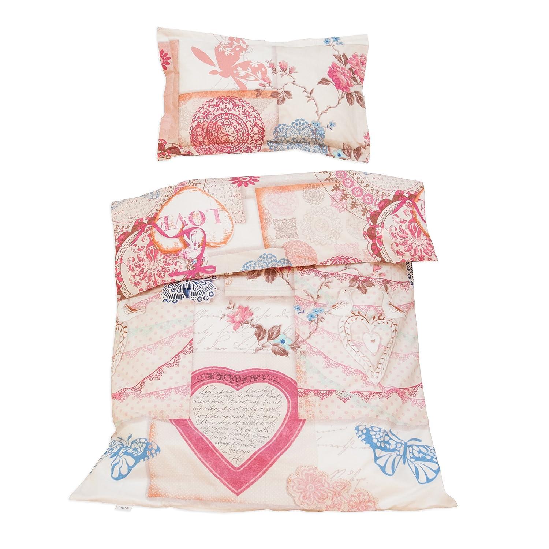 Vintage love - Ropa de cama para minicuna, 100% Algodón (funda de edredón 80x120 cm y 1 funda de almohada 30x40 cm): Amazon.es: Bebé