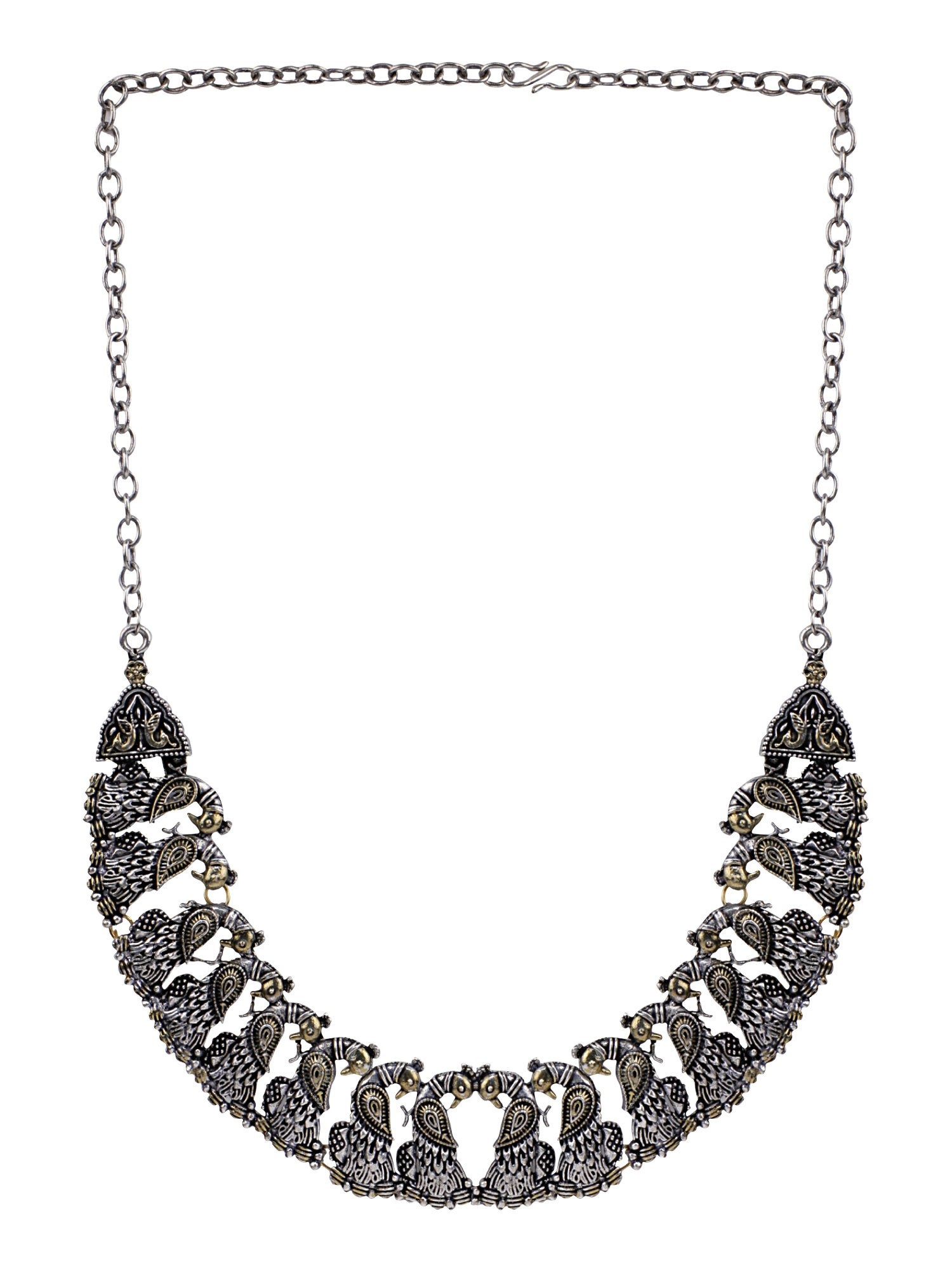 Efulgenz Boho Vintage Antique Ethnic Gypsy Tribal Indian Oxidized Silver Beaded Statement Necklace Jewelry