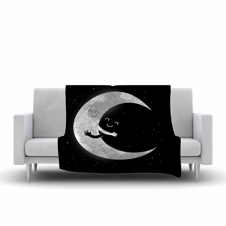 80 by 60-Inch Kess InHouse Digital Carbine Moon Hug Black White Fleece Throw Blanket 80 X 60