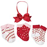 Mud Pie Girls' Holiday Christmas Headband and Three Pair of Socks Gift Set