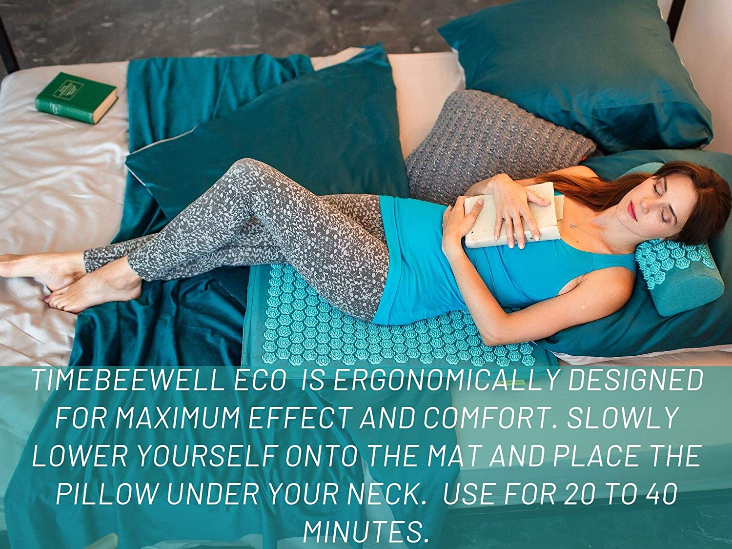 Eco-Friendly Acupressure Mat and Pillow Set, Back and Neck Pain Relief (Turquoise)
