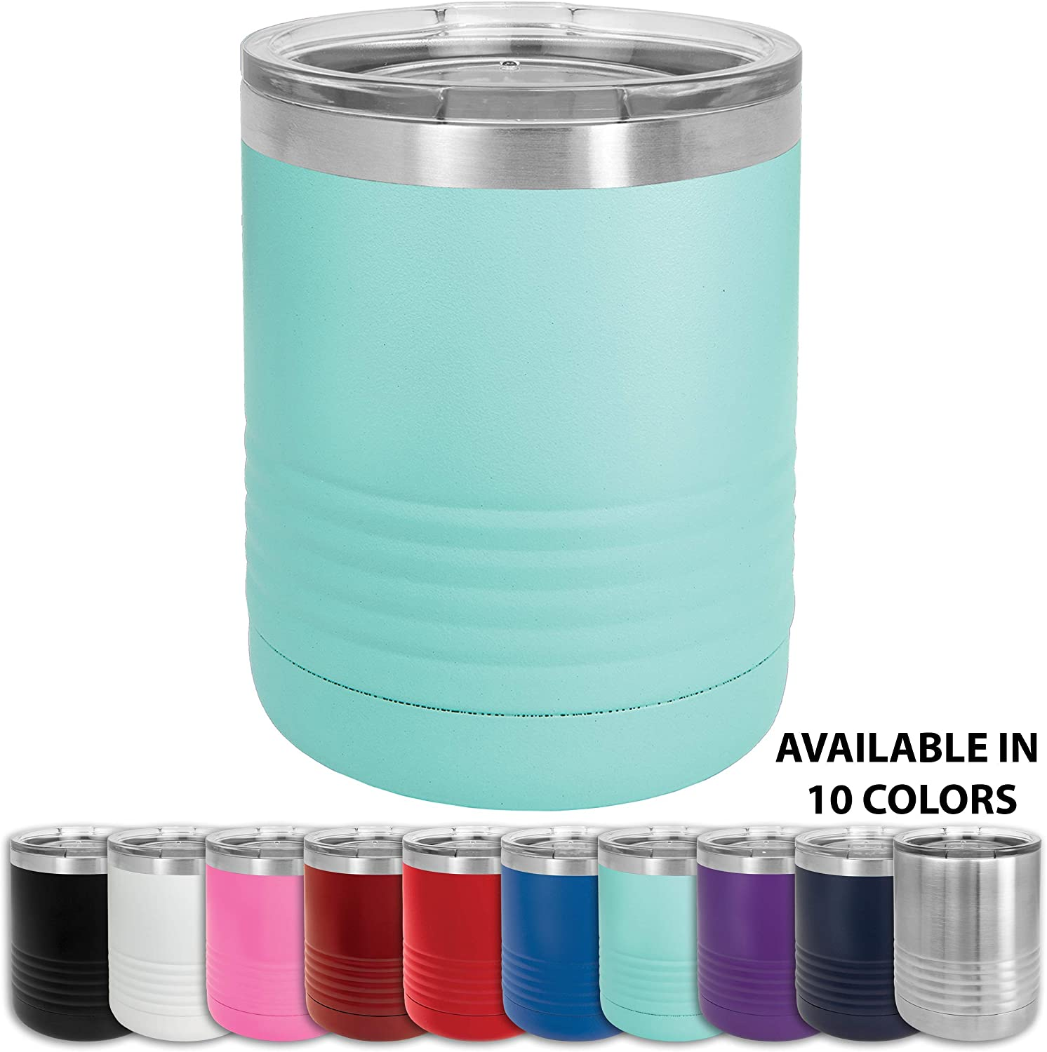 Clear Water Home Goods - 10 oz Stainless Steel Double Wall Vacuum Insulated Lowball Travel Tumbler Mug Keeps Drinks Hot or Cold 2x Longer than Other Coffee and Beverage Thermos Cup - Teal