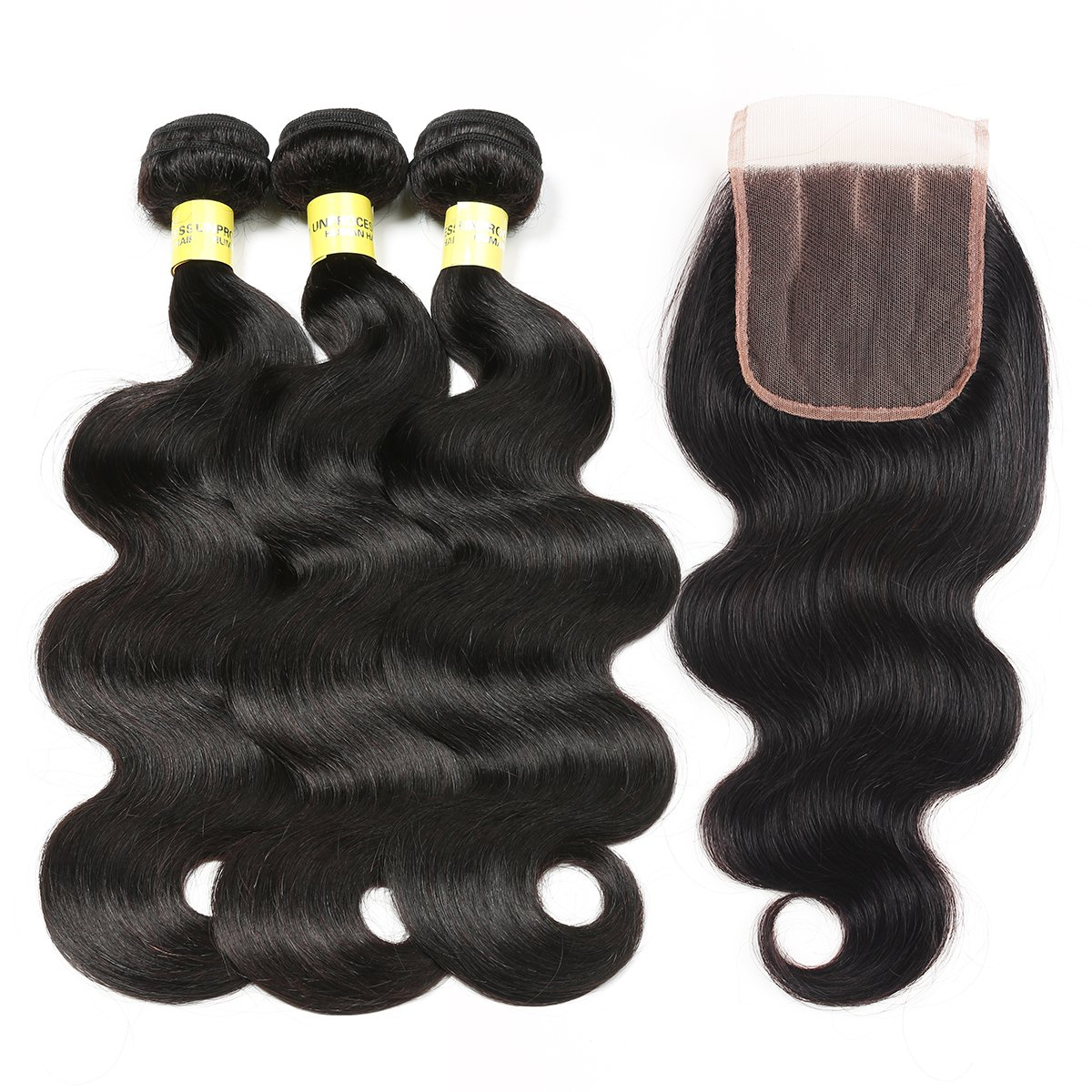 Mureen Brazilian Hair With Closure 8A 3 Bundles Body Wave Virgin Human Hair Bundles With Lace Closure 100% Unprocessed Hair Extensions Natural Black Color (10 12 14 + 10, Three Part)
