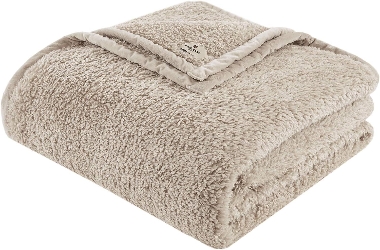 Woolrich Burlington Berber Blanket Super Soft, Cozy Lightweight Cover with Luxrurious Velvet Binding, Modern Trendy All Season Bedspread Bedding-Set, Full/Queen: 90x90, Tan