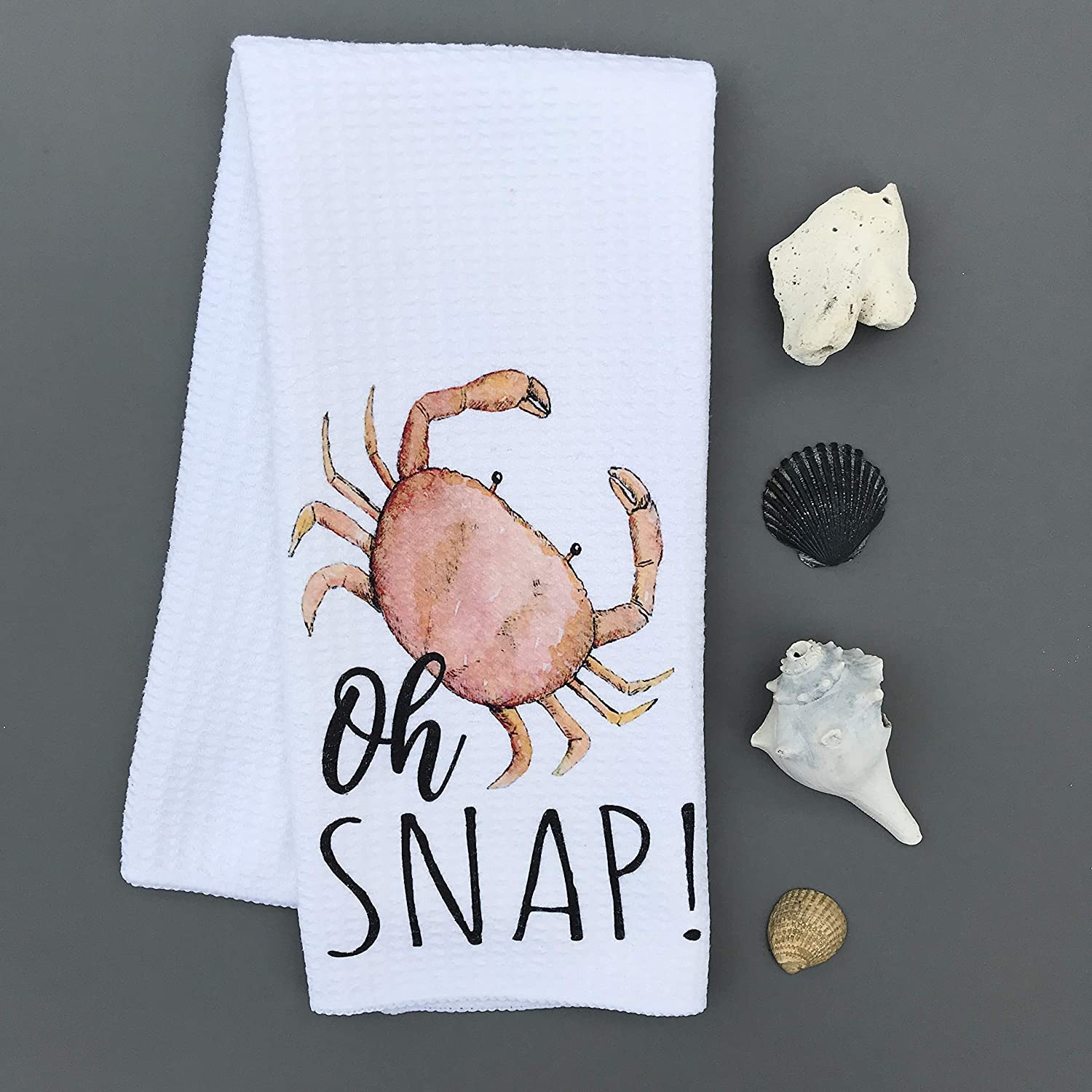 Oh Snap Crab Nautical Summer Waffle Weave Kitchen Towel