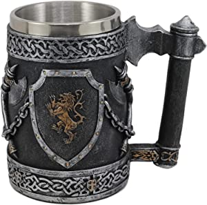 Ebros Large Medieval Coat Of Arms English Lion Heraldry Shields And Crossed Axes Tankard Mug 16oz Kingdom Of England Lion Heart Crest Beer Stein Tankard Coffee Cup Renaissance Art Decor Home Kitchen