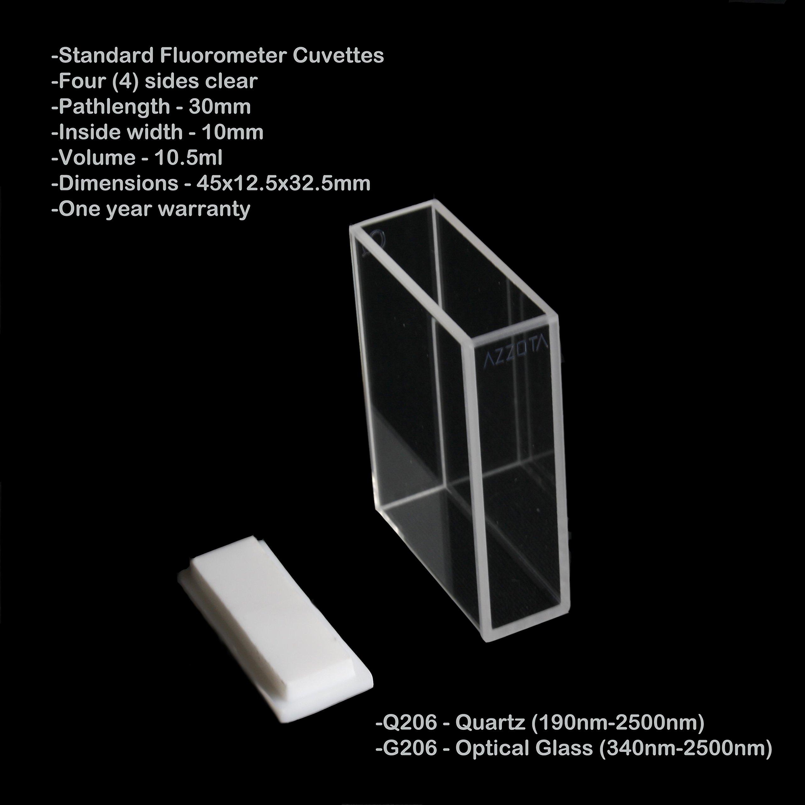Azzota Q206 Standard Fluorimeter Cell, Lid, Quartz, 30mm Path Length, 10.5mL Volume by Azzota