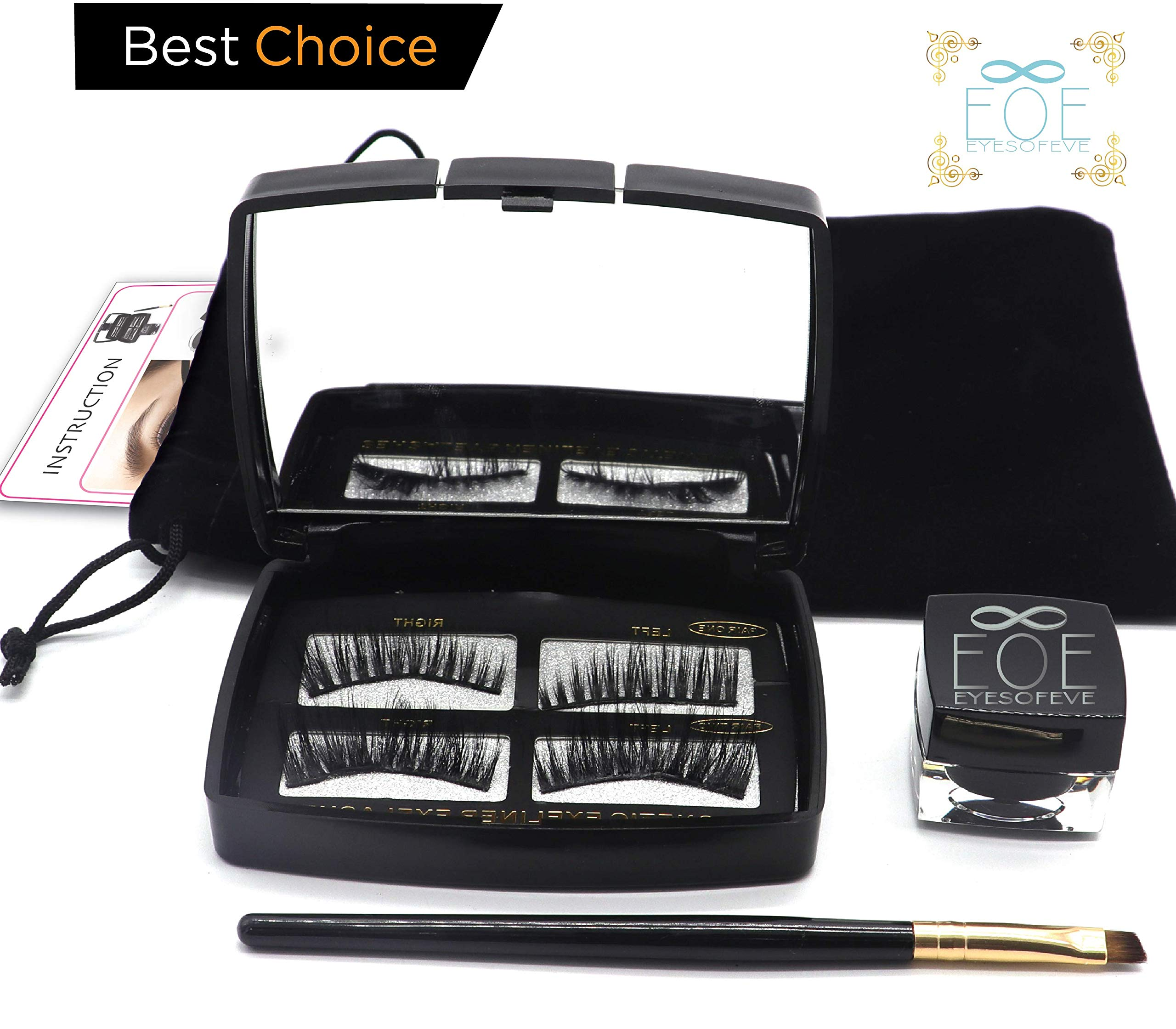 Magnetic Lashes Magnetic eyeliner Ge [By EOE] 2019 LashLiner kit with Brush and Mirror. Lashes are natural looking reusable eyelashes Easy application. no glue
