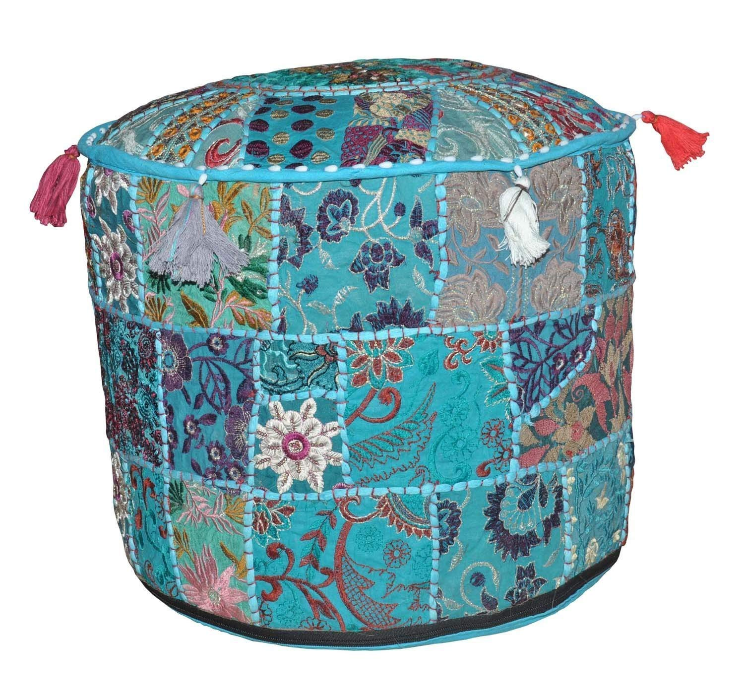 Stylo Culture 40 cm Round Cotton Patchwork Embroidered Pouffe Stool Ottoman Stool Pouf Cover Green Floral Footstool Floor Cushion Cover Ethnic Decor SC-POUF00029