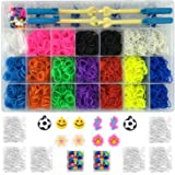Kiserena Complete Collection Loom Bands Set with 4000 10-Color Rainbow Rubber Band, Loom Board, 2 Metal Hook, 2 Plastic Hook, 170 S Clip, 10 PVC Charms, Beads and Organizer Case