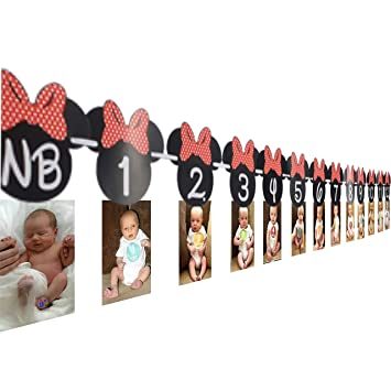 OrangeDolly Minnie mouse 12 month photo banner | one banner | Minnie Mouse Birthday Banner| Minnie mouse party supplies| Minnie mouse clubhouse party| ...