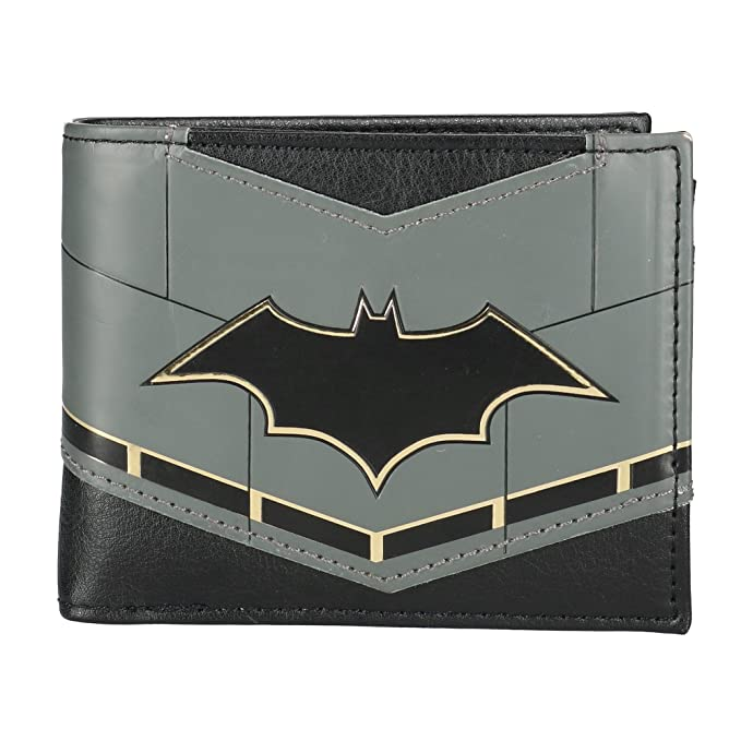 Amazon Batman Rebirth Logo Suit Up Mens Bi Fold Wallet Clothing