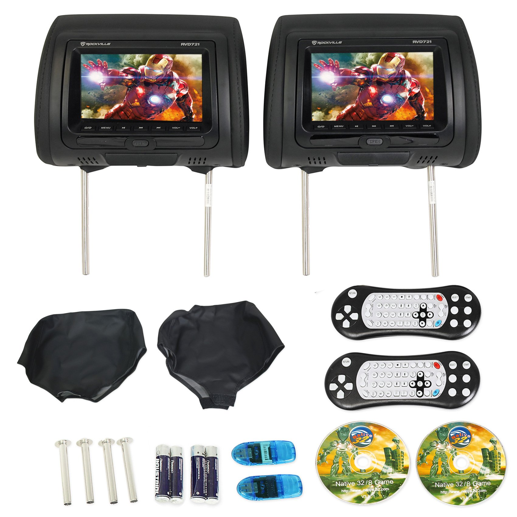 "Rockville RVD721-BK 7"" Black Dual DVD/USB/HDMI/SD Car Headrest Monitors + Games"