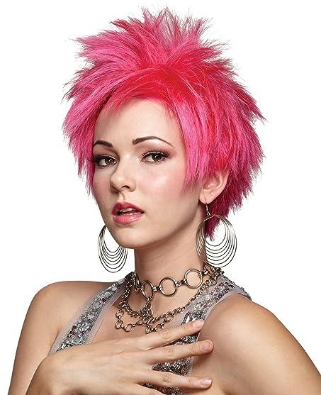 UHC Womenu0027s Short Vivid Spikey Hot Pink Wig Halloween Costume Accessory  sc 1 st  Amazon.com & Amazon.com: UHC Womenu0027s Short Vivid Spikey Hot Pink Wig Halloween ...