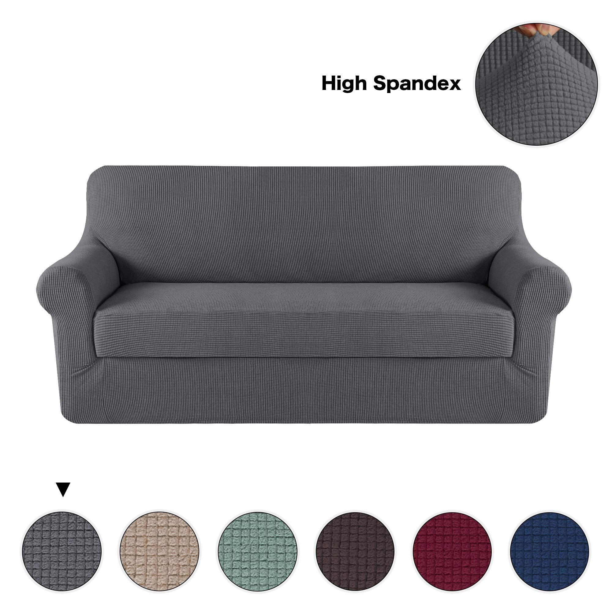 Turquoize Grey Sofa Slipcover 3 Seater Couch Cover Stretch Fabric in Polyester Spandex Elastic Bottom Slipcover 2-Piece(Sofa,Grey)