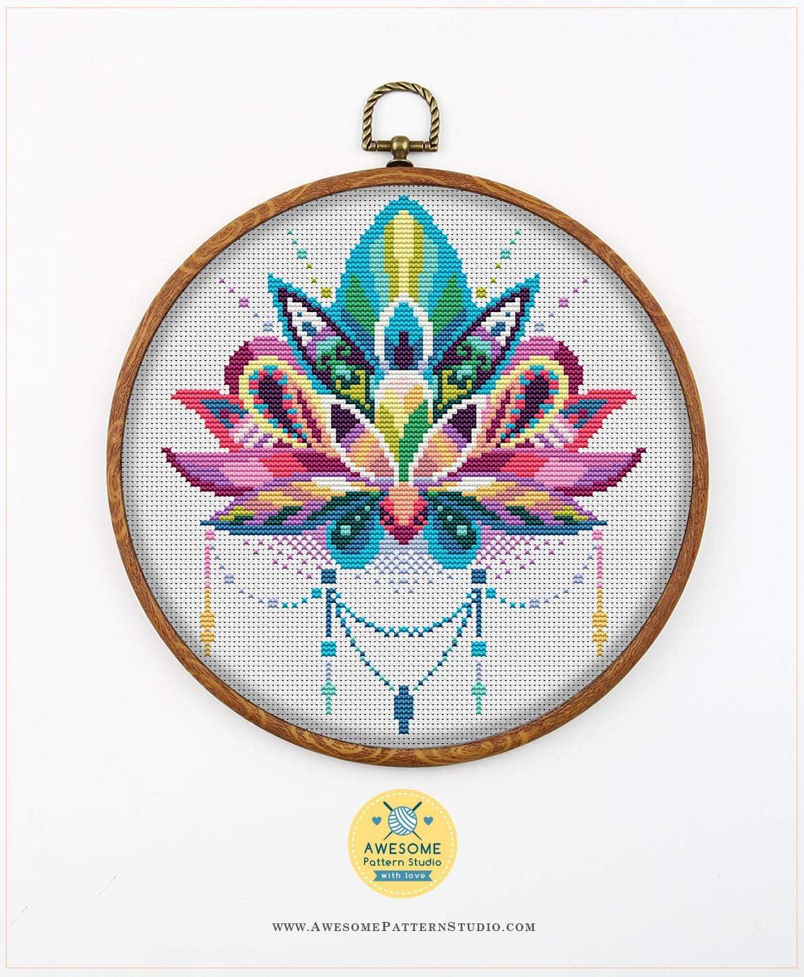 Amazon Com Mandala Lotus K168 Cross Stitch Kit Funny Mandala Cross Stitch Patterns Embroidery Kits Needlepoint Kits Embroidery Designs Embroidery Stitches
