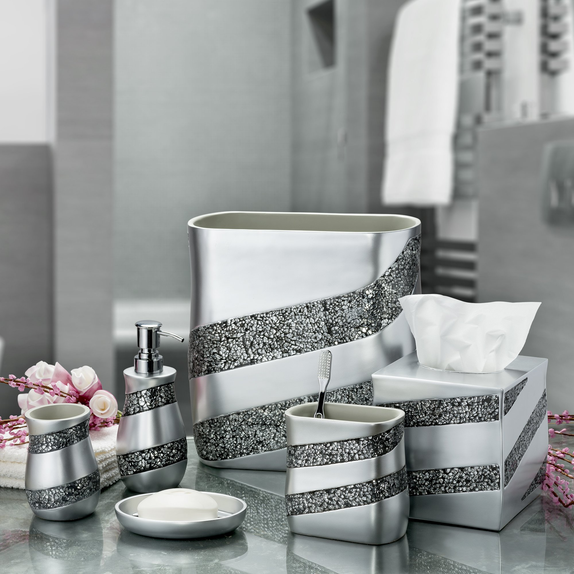 Shower Bathroom Sets: Dwellza Silver Mosaic Bathroom Accessories Set, 6 Piece