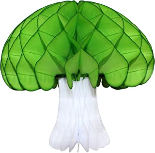 product image for 2-pack Large 16 Inch Honeycomb Tissue Paper Mushroom Party Decoration, Lime