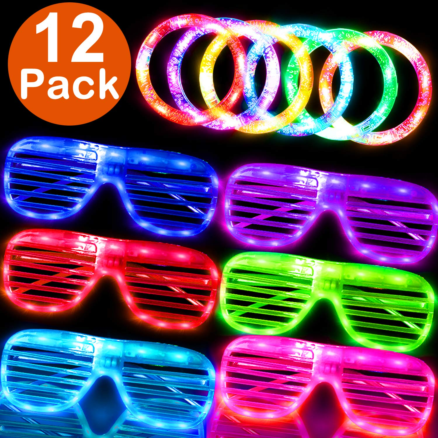 LED Light Up Toys Halloween Glow In The Dark Party Favor Decorations for Kids Adults - 12 Pack 6 LED Light Up Glasses 6 Flashing Bracelet Party Suppiles Set Halloween Christmas Birthday Party Decor