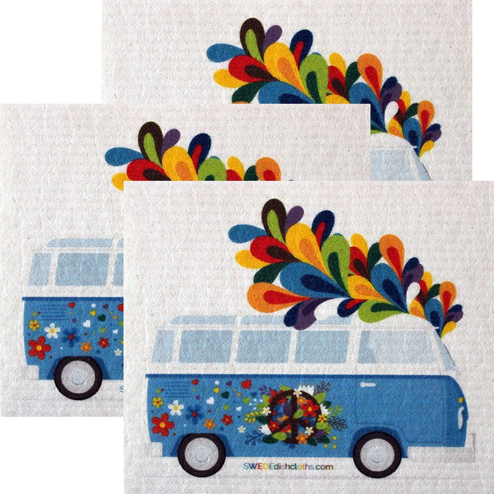 Flower Power Bus Set of 3 each Swedish Dishcloths | ECO Friendly Absorbent Cleaning Cloth | Reusable Cleaning Wipes
