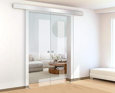 Puerta corredera de cristal para diseño de interiores Boss Duo - 8 mm, vidrio templado de seguridad grueso, nanorevestido, accesorios de acero inoxidable SS304, por Modern Glass Art (95+95x215 cm): Amazon.es: Bricolaje