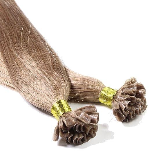 Hair2Heart 50 x 0.5g Extensiones de Queratina - 40cm - Liso, Color 14 Rubio Oscuro: Amazon.es: Belleza