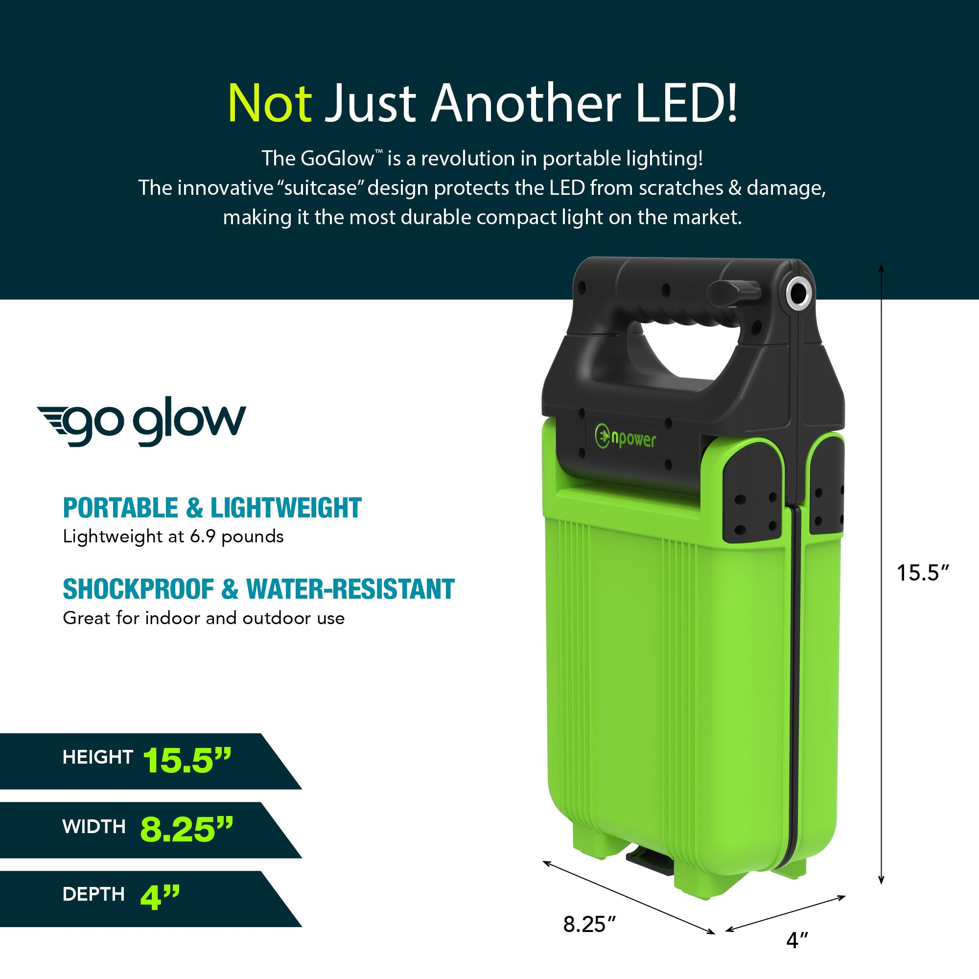 GoGlow LiteBook Bundle - Upgraded 2.0 TRIPOD INCLUDED - 30W Portable Rechargeable Day Light White Light (5000-5500k) Work Light, Camping, Garage or Auto Repair, Emergency (Green) by Enpower (Image #2)