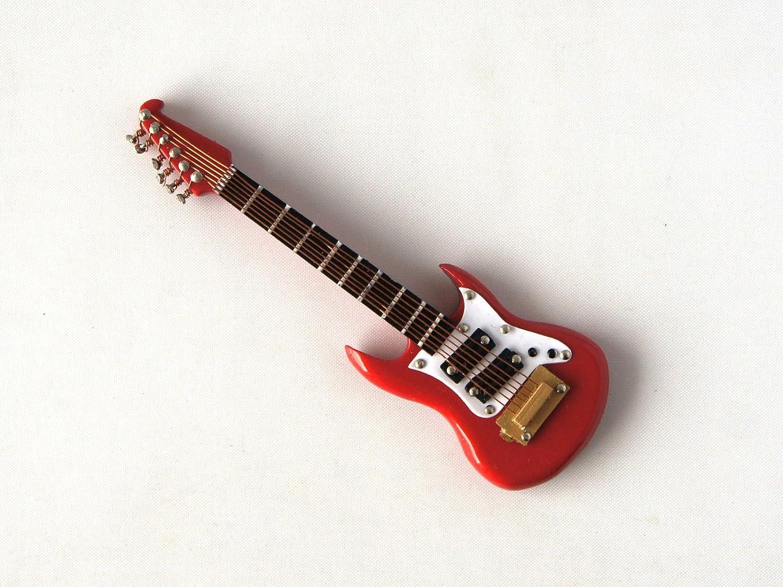 Rojo Washburn Guitarra eléctrica en miniatura 1/12 escala musical instrumento en caso de vinilo negro con hebilla de metal: Amazon.es: Hogar