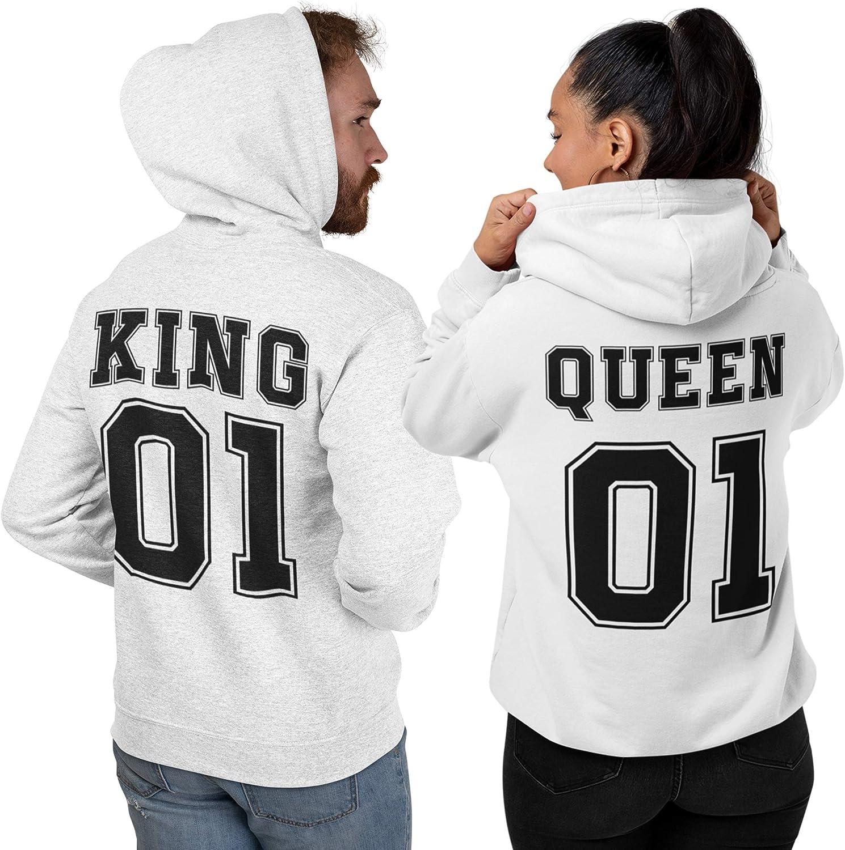 My Digital Print Coppie Felpa con Cappuccio King /& Queen 01 Idea Regalo per San Valentino Fidanzato Fidanzata