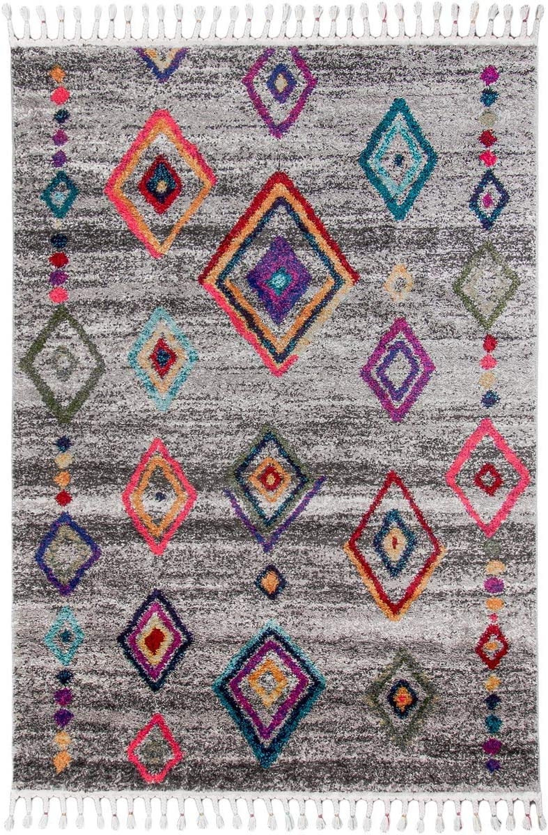 We Rugs Mykonos 03 Bohemian Shag Rug 8 x 10 , Grey