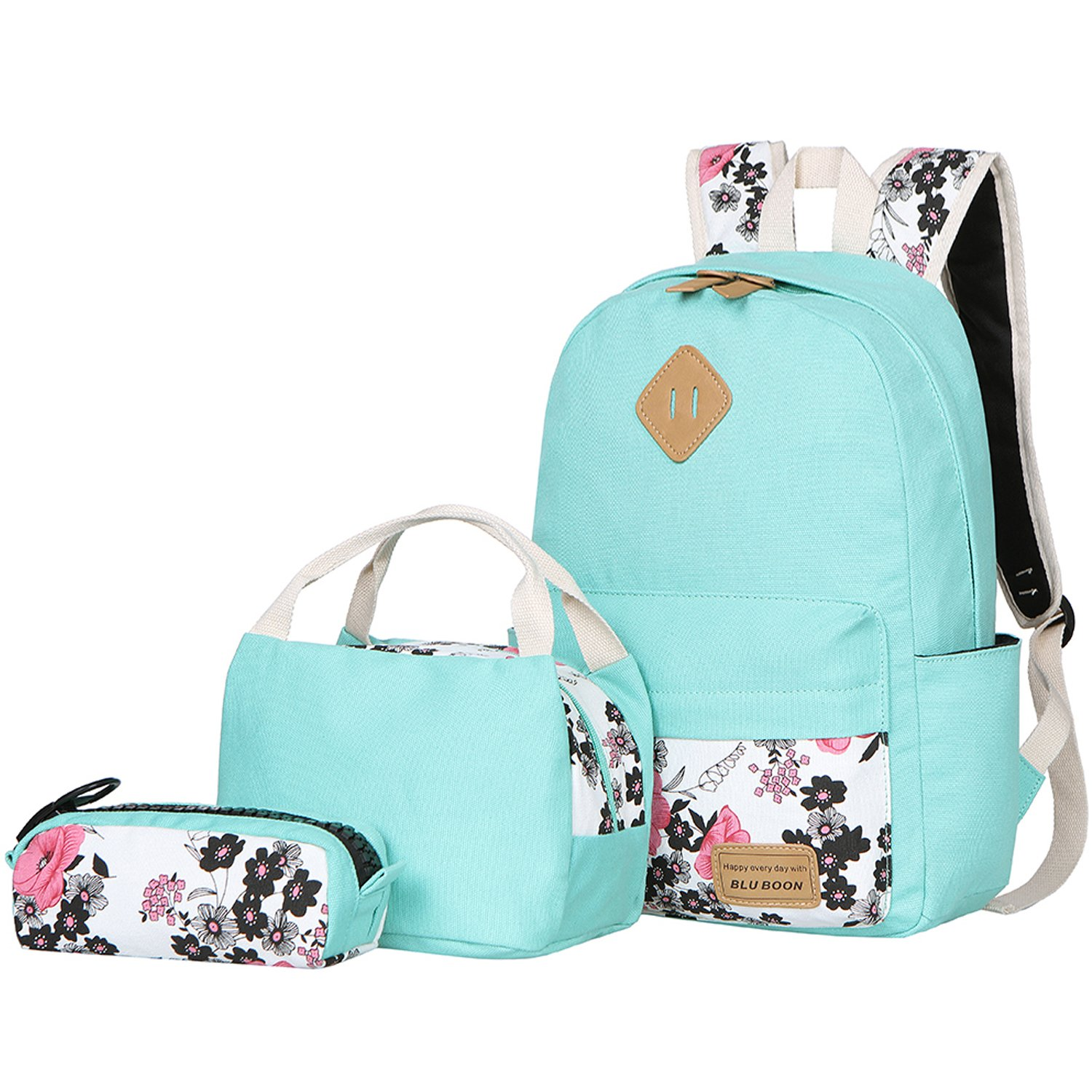 6e0f07ac9463 Details about BLUBOON Teens Backpack Set Canvas Girls School Bags, Bookbags  3 in 1 (Water