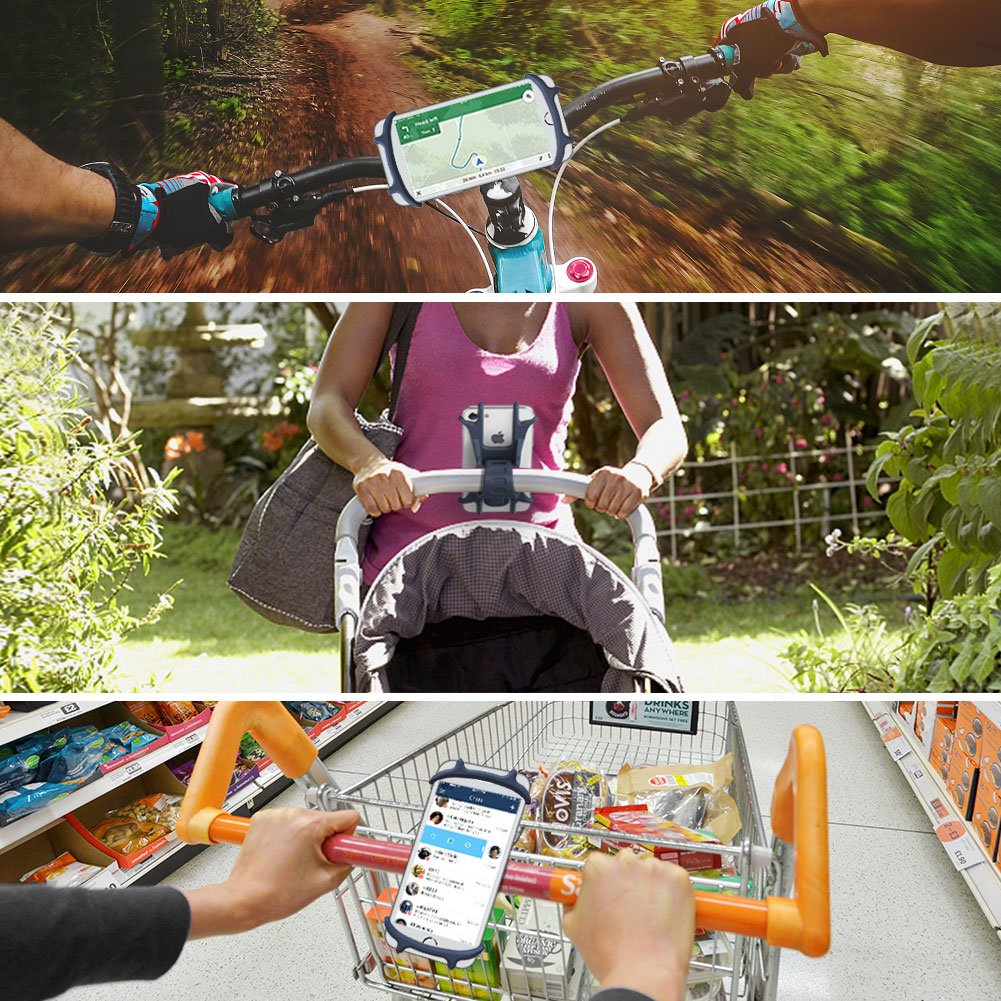 Universal Cradle for Any Smartphone with 4.5-5.5 Inch Screens and All Bicycle Handlebars FN-SP-BK Black Silicone Adjustable Bicycle Phone Holder Fnova Bike Phone Mount Attach and Detach in Seconds Attach and Detach in Seconds