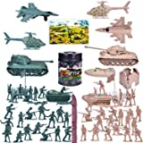FUN LITTLE TOYS 180 PCs Army Men Action Figures Army Toys of WW 2, Military Figures Set with a Map, Toy Tanks, Planes, Flags,