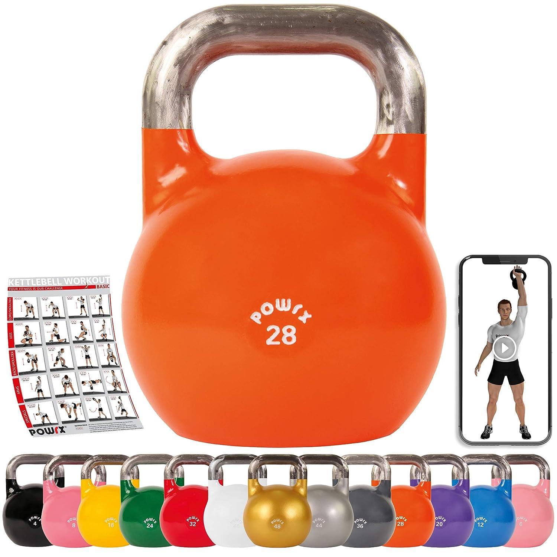 POWRX Kettlebell Pesa Rusa Competición 4-28 kg + PDF Workout (28 ...