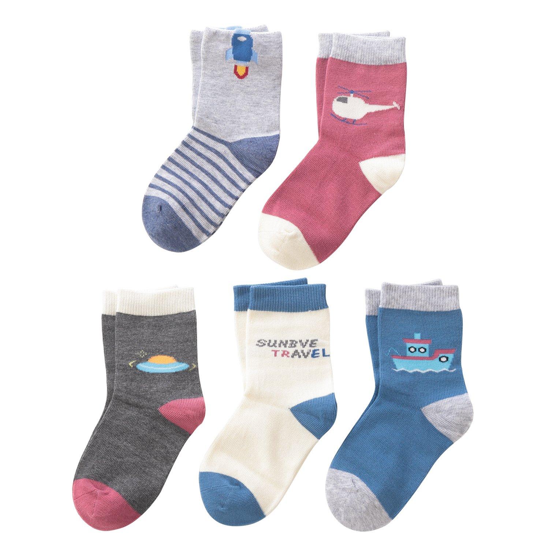 SUNBVE Baby Toddler Little Boys Cotton Crew Socks 5 Pairs Pack